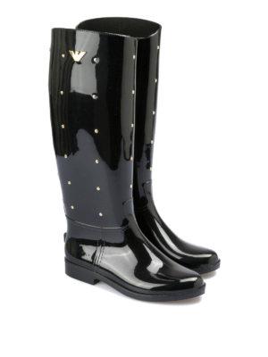 EMPORIO ARMANI: stivali online - Stivali da pioggia con borchiette e logo