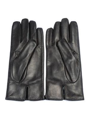 EMPORIO ARMANI: guanti online - Guanti in pelle con logo lettering goffrato