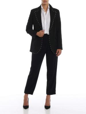 EMPORIO ARMANI: giacche sartoriali online - Giacca nera in cady a un bottone con borchie