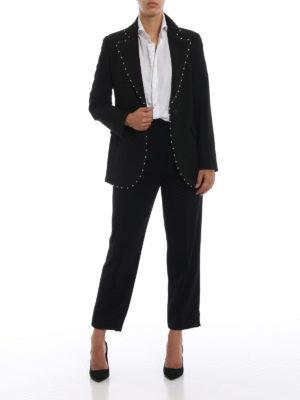 EMPORIO ARMANI: Pantaloni sartoriali online - Pantaloni eleganti neri in crepe con pinces