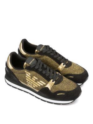 EMPORIO ARMANI: sneakers online - Sneaker in suede e lurex dorato con logo