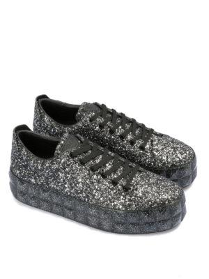 EMPORIO ARMANI: sneakers online - Sneaker in pelle glitterata con maxi suola