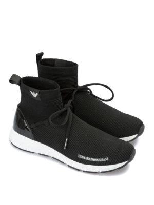 EMPORIO ARMANI: sneakers online - Sneaker alte a calza in tessuto neoprene