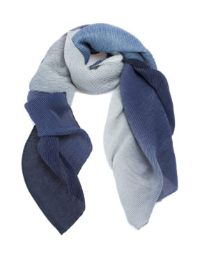 Emporio Armani: scarves - Fading blue pleated scarf