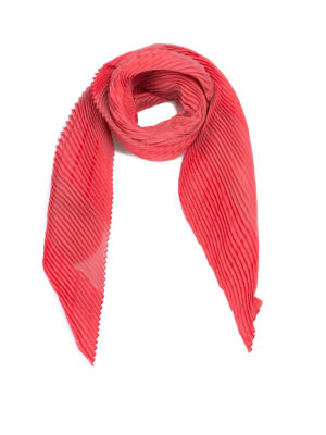 Emporio Armani: scarves - Solid coral red pleated scarf