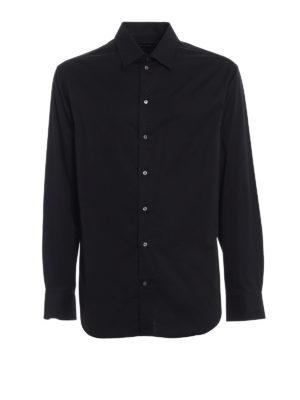 Emporio Armani: shirts - Black stretch cotton shirt