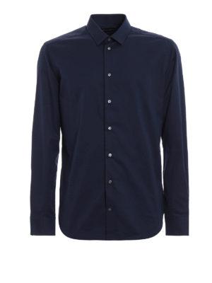 EMPORIO ARMANI: camicie - Camicia slim fit in cotone stretch blu