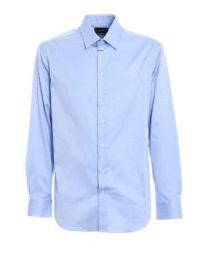 Emporio Armani: shirts - Light blue stretch cotton shirt