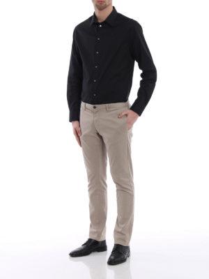 Emporio Armani: shirts online - Black stretch cotton shirt