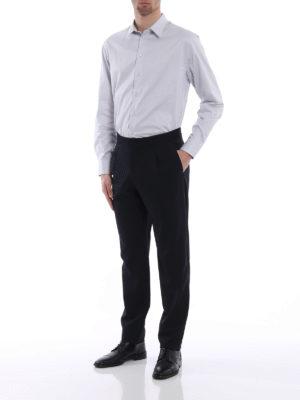 Emporio Armani: shirts online - Light grey stretch cotton shirt