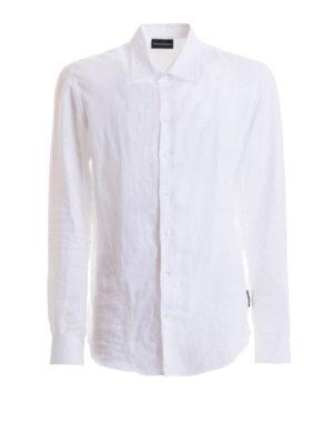EMPORIO ARMANI: camicie - Camicia in lino bianco