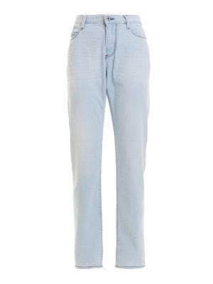 Emporio Armani: straight leg jeans - Contrasting stitching denim jeans