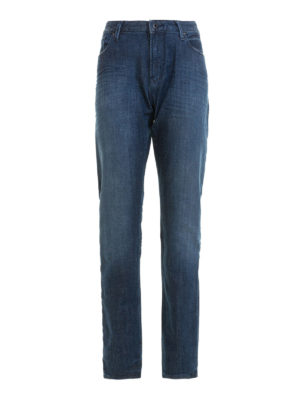 Emporio Armani: straight leg jeans - Faded dark wash denim jeans