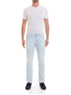 Emporio Armani: straight leg jeans online - Contrasting stitching denim jeans