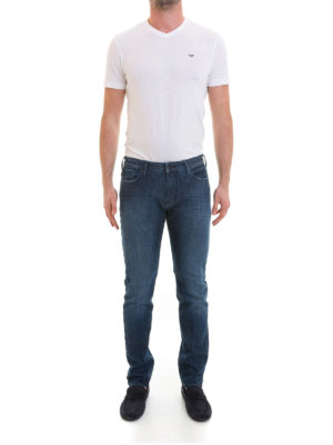 Emporio Armani: straight leg jeans online - Faded dark wash denim jeans
