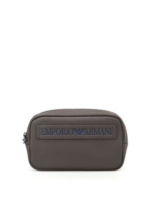 Emporio Armani Swimwear: clutches - Embossed logo faux leather clutch