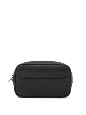 Emporio Armani Swimwear: clutches - Logo faux leather clutch