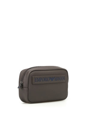 Emporio Armani Swimwear: clutches online - Embossed logo faux leather clutch