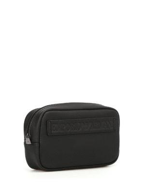 Emporio Armani Swimwear: clutches online - Logo faux leather clutch