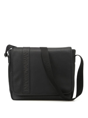 Emporio Armani Swimwear: cross body bags - Black faux leather cross body bag