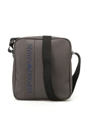 Emporio Armani Swimwear: cross body bags - Embossed logo faux leather bag