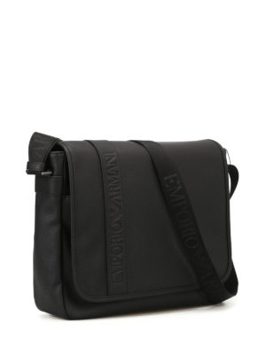 Emporio Armani Swimwear: cross body bags online - Black faux leather cross body bag