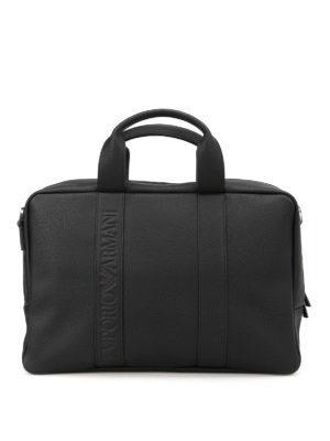 Emporio Armani Swimwear: laptop bags & briefcases - Black faux leather briefcase