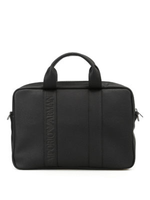Emporio Armani Swimwear: laptop bags & briefcases - Faux leather black briefcase