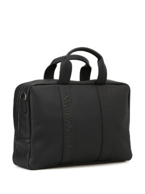Emporio Armani Swimwear: laptop bags & briefcases online - Black faux leather briefcase