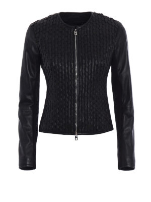 Emporio Armani Swimwear: leather jacket - Woven leather fitted jacket