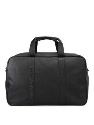 Emporio Armani Swimwear: Luggage & Travel bags - Black faux leather travel bag