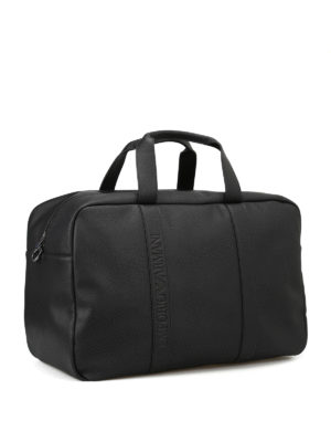Emporio Armani Swimwear: Luggage & Travel bags online - Black faux leather travel bag