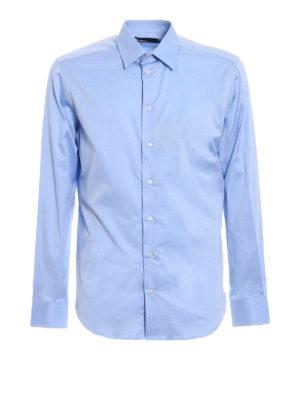 Emporio Armani Swimwear: shirts - Light blue twill cotton shirt