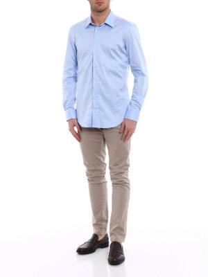 Emporio Armani Swimwear: shirts online - Light blue twill cotton shirt