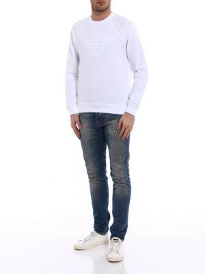 Emporio Armani Swimwear: Sweatshirts & Sweaters online - Total white basic logo sweatshirt