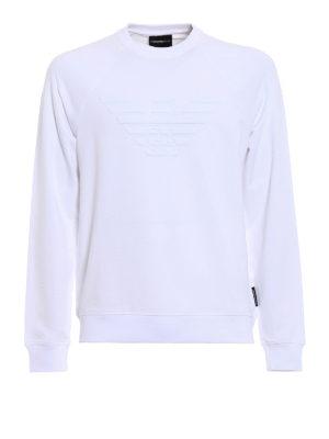Emporio Armani Swimwear: Sweatshirts & Sweaters - Total white basic logo sweatshirt