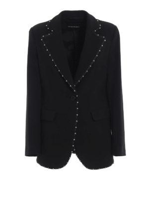 EMPORIO ARMANI: giacche sartoriali - Giacca nera in cady a un bottone con borchie
