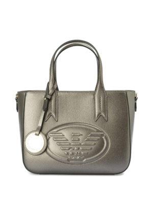 EMPORIO ARMANI: shopper - Borsa in finta pelle metallizzata