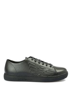 EMPORIO ARMANI: sneakers - Sneaker in pelle nera con logo goffrato
