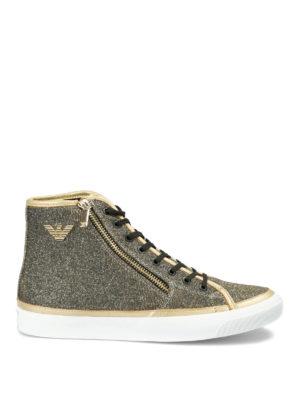 EMPORIO ARMANI: sneakers - Sneakers alte in tessuto glitterato