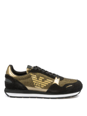 EMPORIO ARMANI: sneakers - Sneaker in suede e lurex dorato con logo