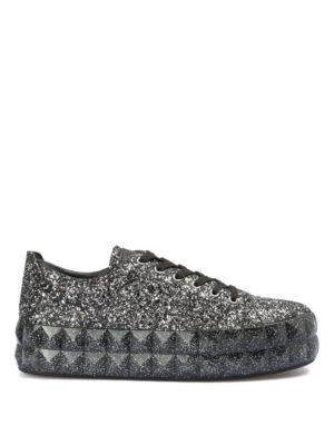 EMPORIO ARMANI: sneakers - Sneaker in pelle glitterata con maxi suola