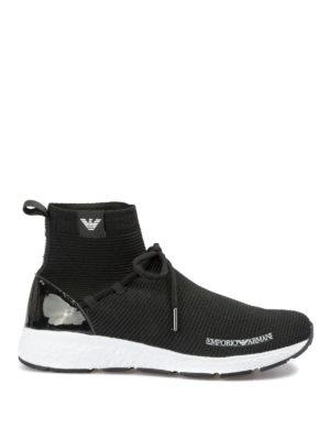 EMPORIO ARMANI: sneakers - Sneaker alte a calza in tessuto neoprene