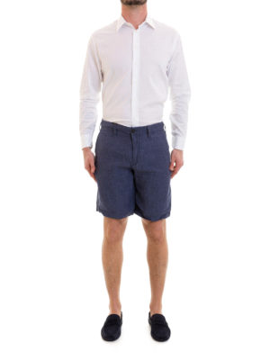Emporio Armani: Trousers Shorts online - Blue linen short trousers