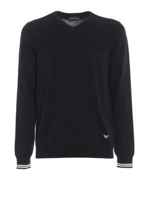 Emporio Armani: v necks - Knitted cotton V-neckline pullover