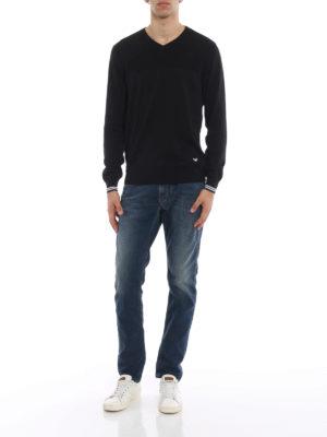 Emporio Armani: v necks online - Knitted cotton V-neckline pullover