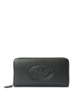 EMPORIO ARMANI: portafogli - Portafoglio in pelle con logo goffrato