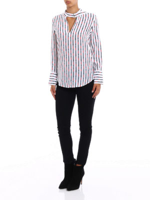 Equipment: blouses online - Belts printed silk blouse