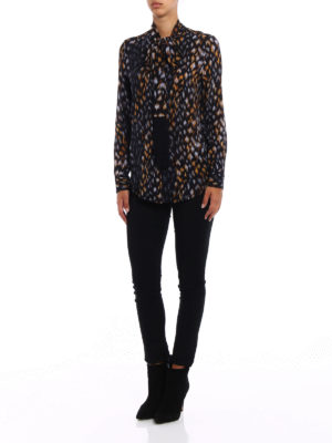 Equipment: shirts online - Pussy bow and tassels silk shirt