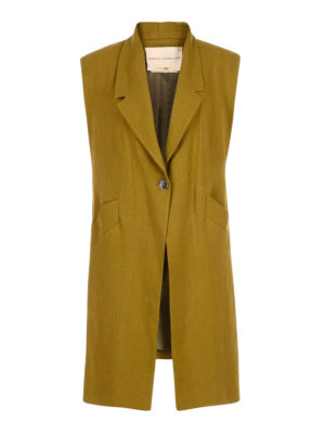 Erika Cavallini: knee length coats - Mo linen sleeveless coat